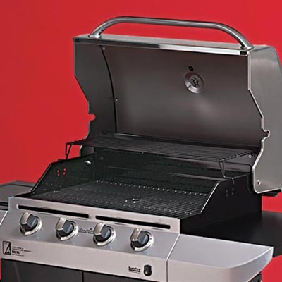 the Char-Broil Commercial Series four-burner propane grill close up on the cooking area