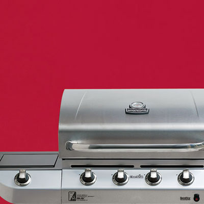 the Char-Broil Commercial Series four-burner propane grill close up on the controls