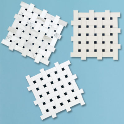 three different types of black and white basketweave tile