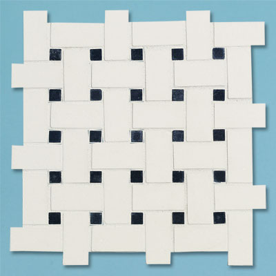 example of a mid-range  black and white basketweave tile