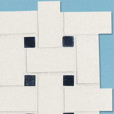 details of a mid-range black and white basketweave tile