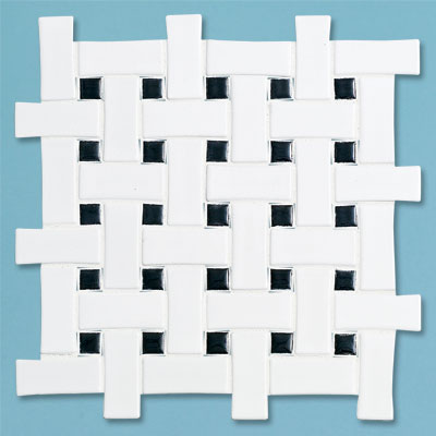 example of a budget black and white basketweave tile