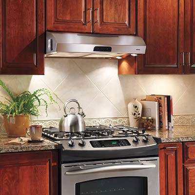 broan's evolution stainless steel range hood with halogen lights