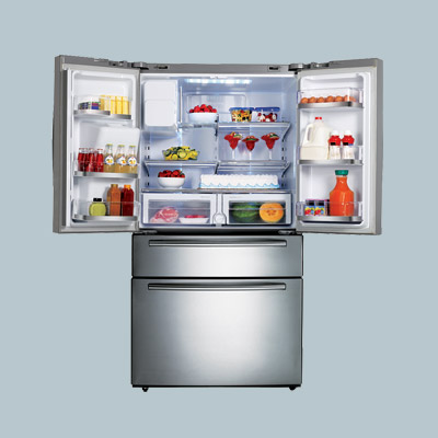 open samsung french door stainless steel refrigerator