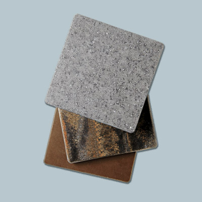 small tiles of corian in different colors