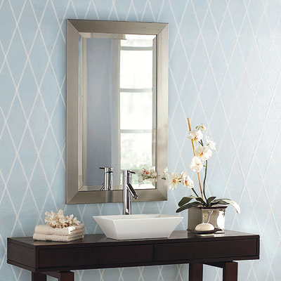 bathroom with pale blue and silver wallpaper