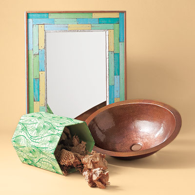 recycled color washed mirror