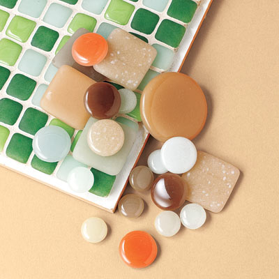 recycled glass mosaic tiles