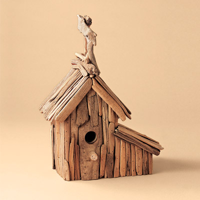 recycled driftwood birdhouse