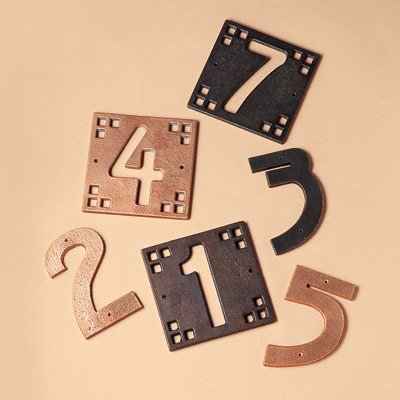 recycled metal house numbers
