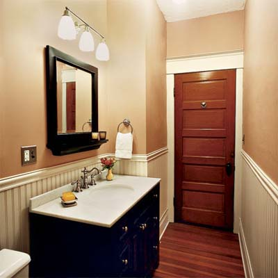bathroom of this victorian and craftsman style cottage after remodel