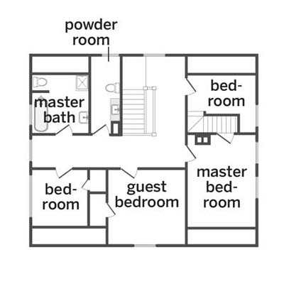 upstairs floorplan for the remodel of this victorian and craftsman style cottage
