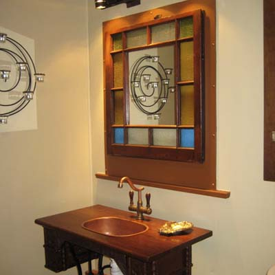 wooden bathroom vanity with mirror