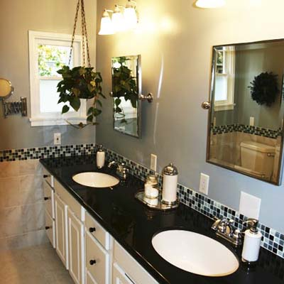 remodeled bathroom double vanity