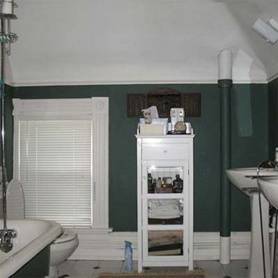 bathroom with dark green walls