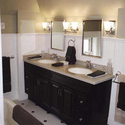 remodeled bathroom with double sinks