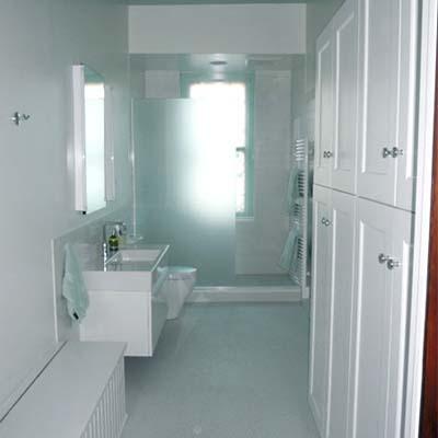 cool blue bathroom with closet storage
