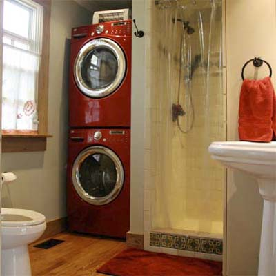 Combo laundry bath after best bath before and afters for Small bathroom laundry designs
