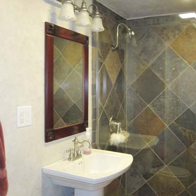 remodeled bathroom with tiled shower