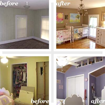composite showing two reader remodel before and after kids rooms