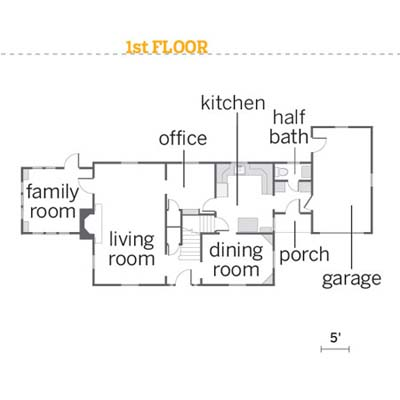 floorplan for first floor of the 2010 reader remodel winner house