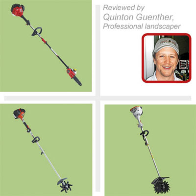 composite of three multihead trimmers with a photo of the professional landscaper who tested them