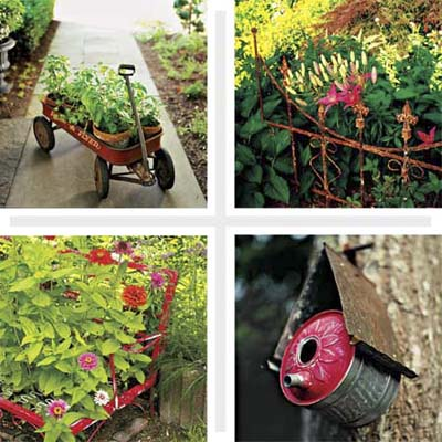 Add character to your landscape turn salvaged junk into - Garden decor accessories ...