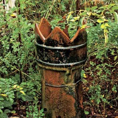 an old terra cotta chimney pot set upright as an outdoor planter