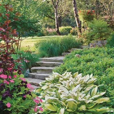 stone staircase runs through garden
