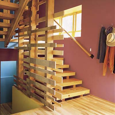 Slatted staircase in eco-home