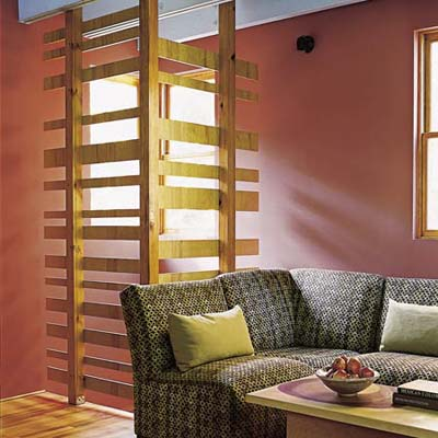 slatted wall for natural light in eco-home
