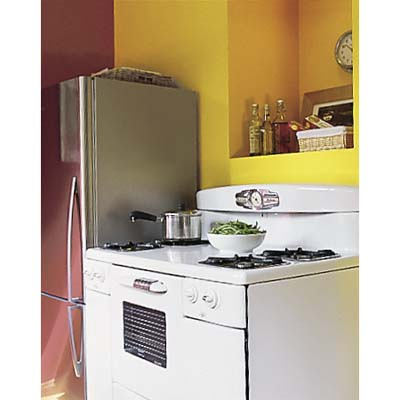 Energy Star and salvaged appliances in eco-home kitchen