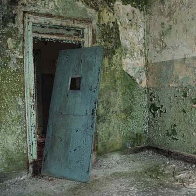 peeling paint in ruined asylum hallway