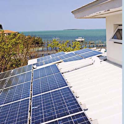 solar panels for electicity in Key Largo eco-friendly house
