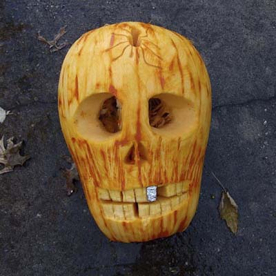 Skull carving by Tom Nardone of ExtremePumpkins.com