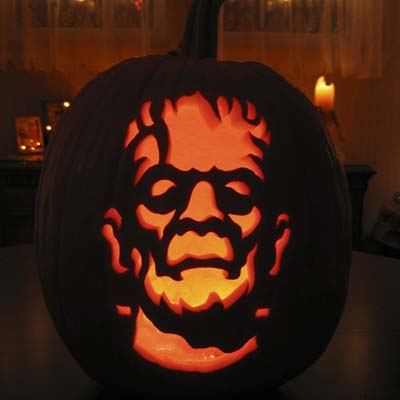 Frankenstein carving by Ryan Wickstrand of ZombiePumpkins.com