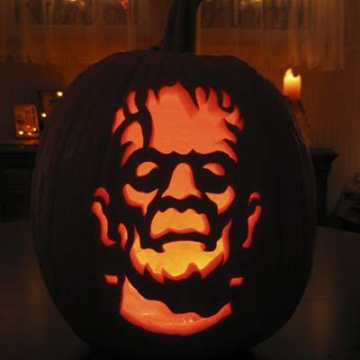 Frankenstein carving by Ryan Wickstrand of ZombiePumpkins.com