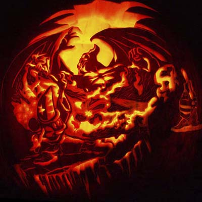 pumpkin carvings; jack-o-lanterns