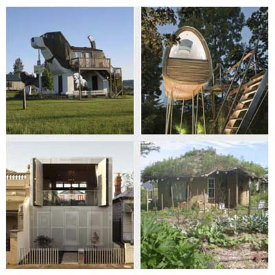 beagle-shaped house, house on stilts, garden roof house and perforated house with foldout top window