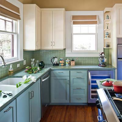 Austin colorful kitchen the best projects from this old for Blue and cream kitchen ideas
