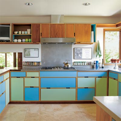 brightly colored kitchen making use of various types of laminate