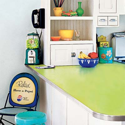 example of laminate countertop with metal edging