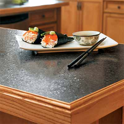 example of laminate countertop with wood edging