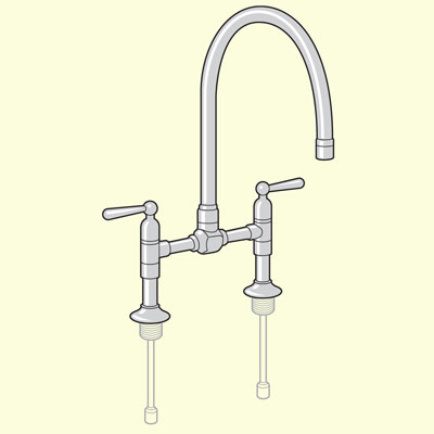 two hole bridge body-type kitchen faucet