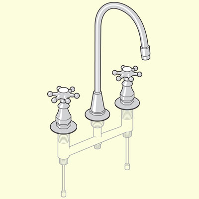 three hole bridge body-type kitchen faucet
