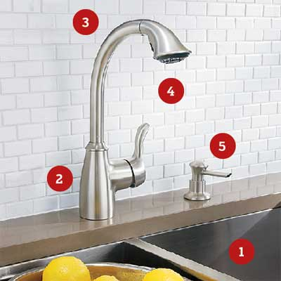 installed kitchen faucet