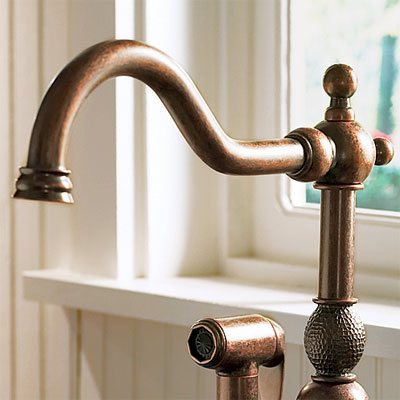 kitchen faucet with copper finish