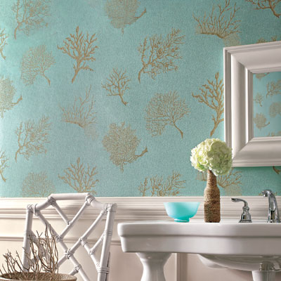 Coral Gables in Aqua wallpaper in a bathroom