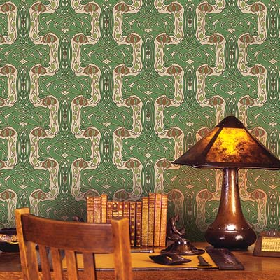 Celtic Knot wallpaper behind a desk