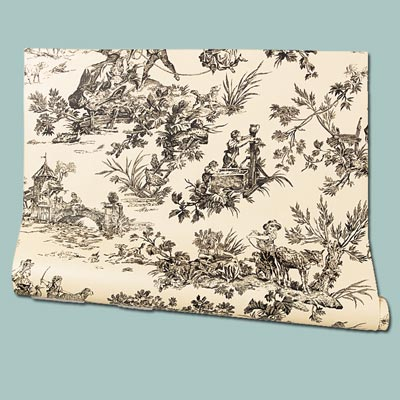 vintage look scene on nonwoven wallpaper